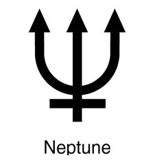 The symbols for the planets, Moon, and Sun (along with the symbols for the zodiac constellations) were developed for use in both astronomy and astrology. The symbol for Neptune is the trident (a long, three-pronged fork or weapon) of Neptune, god of the sea. Pisces is rule by this planet along with Jupiter.