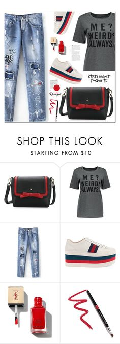 """""""Say It Loud: Slogan T-Shirts"""" by samra-bv ❤ liked on Polyvore featuring Gucci, Dollup Beauty and slogantshirts"""