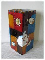 Halacskák meselámpaMikulásos  www.meselampa.hu by AsterGlass Design (Burján Eszter 'Aster' üvegfestő művész)