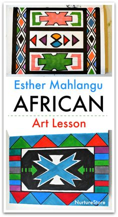 Esther Mahlangu African art lesson for children, African art project for kids, African craft, STEAM math and art project