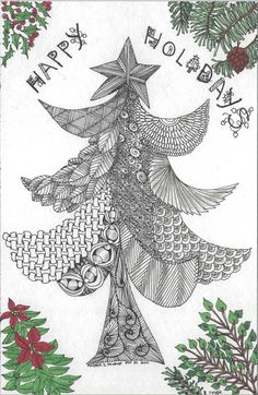 """These 4 designs are the first Zentangle Christmas Greeting Cards I ever made.  I went on line and looked up """"Avery"""" website and they hav..."""
