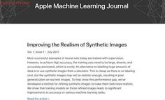 Apple has launched a new machine learning research website