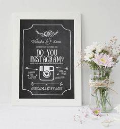 Personalised Floral Chalkboard Instagram Wedding Sign   by Best Day Ever on Not on The High Street