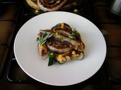 JHS  / Saucisse de porc, légumes grillés et cannoli pommes de terre,sauce aux carottes Gino D'Aquino