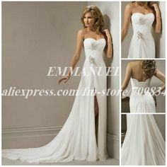 A-line Sweetheart Chiffon Beach Wedding Dress with Front Slit NG646 Hot Sell on AliExpress.com. $172.00