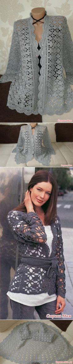 Серый жакет крючком - Вязание - Страна Мам