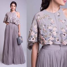 Buy Gray Color Cape Dress by Akanksha Singh at Fresh Look Fashion Ethnic Fashion, Look Fashion, Indian Fashion, Blouse Back Neck Designs, Blouse Designs, Indian Attire, Indian Outfits, Indian Designer Outfits, Designer Dresses