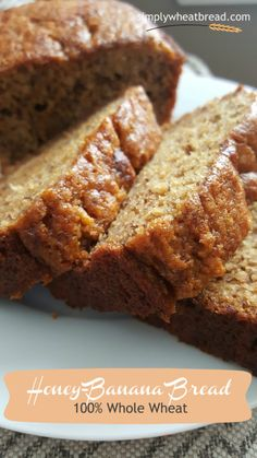 This 100% whole wheat honey-banana bread recipe will quickly become your family favorite. Guaranteed! Wholesome ingredients and so delicious!