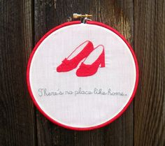Embroidery Hoop Art The Wizard of Oz Ruby Red by SewTechnicolor
