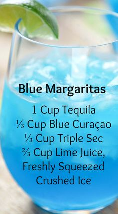 Blue Margaritas ~ Incredibly refreshing and SO easy...They only require 4 ingredients, and no blender/cocktail shaker!