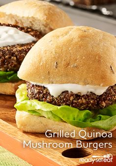 A veggie burger with red quinoa, mushrooms, fresh herbs and asiago cheese topped…