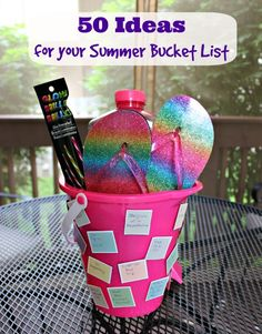 Make a summer bucket list on a bucket! Plus a list of 50 really fun ideas to do with the kids!