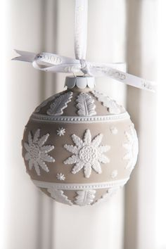 Wedgwood 2013 Neoclassical Ball Ornament - saw this baby in Kirkaldie & Stains Dec 2014 - just beautiful Noel Christmas, Diy Christmas Ornaments, Christmas Colors, Handmade Christmas, White Christmas, Christmas Decorations, Elegant Christmas, Polymer Clay Ornaments, Handmade Ornaments