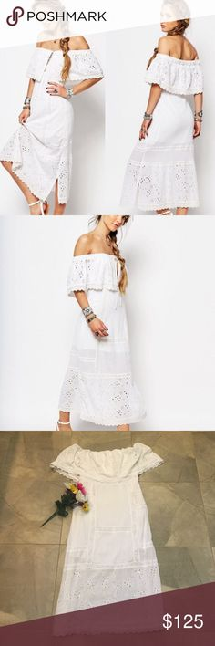 """Free People Most Beautiful Midi Dress NWT Sold out everywhere! Ethereal and elegant, this breezy cotton dress features a trend-right off-the-shoulder neckline and a shabby-chic overlay accented with airy eyelets. Pieced construction and a relaxed silhouette complete the sunshine-ready look. 41"""" center front length (size Medium). Off-the-shoulder neck with tie. Perfect for a casual wedding or any bridal/ bride functions. Absolutely incredible dress! Free People Dresses Midi"""