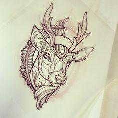 Deer head tattoo sketch