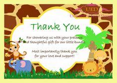Baby Shower Jungle Thank You card, Jungle or Safari Thank You card,  (DIGITAL File/Diy Printing/IMMEDIATE DOWNLOAD)