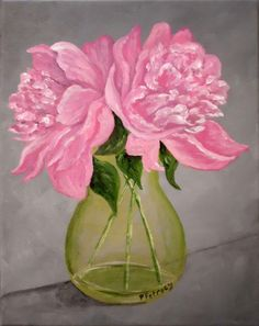 Peony acrylic on canvas 8x10 original painting by PetrocyStudios, $98.00