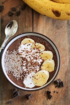 Chocolate Banana Acai Bowls with Chia Seeds