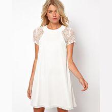 Mulheres sexy lace patchwork dress elegante verão dress solto vestidos femininos vestidos brancos sólidos manga curta oco out(China (Mainland))