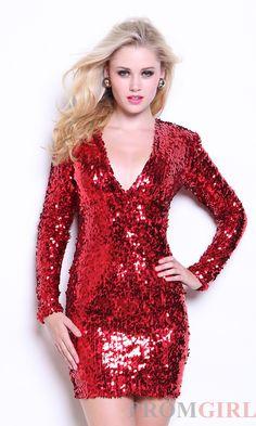 Short Sequin V-Neck Dress AT-8052
