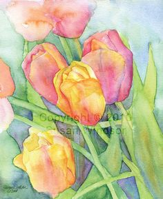 SALE Tulips Watercolor Print 8 x 10 by SusanWindsor on Etsy