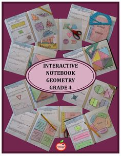 Interactive Notebook Geometry Grade 4 includes a Notebook Cover, Geometry Section Cover, Geometry Section tabs, 10 Introduction Instruction pages,10 Interactive Notebook pages and 18 Examples with answers. Both Composition and Spiral Notebook Sizes included!