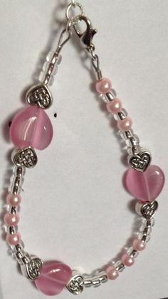 Pink and Celtic hearts bracelet | Bnbcrafts - Jewelry on ArtFire