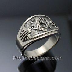 Freimaurer Ring für Männer in Sterling Silber von ProLineDesigns