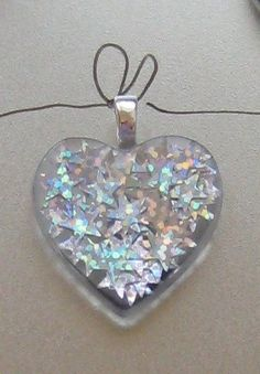 silver holographic stars heart resin pendant
