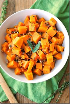 Glazed Butternut Squash with Sage & Toasted Pecans