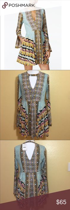 Free People Tegan Printed Cutout Dress NWT. Size 0. Perfect condition. Free People Dresses Mini