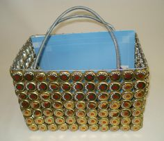 Magazine basket made with bottle tops from African Home. #reuse #craft #make