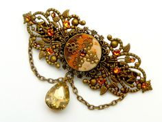 This #Barrette in antique-style is a beautiful accessory for historical costumes or festive updos. It consists of bronze metal. For easy mounting is located on the back of a... #barrette