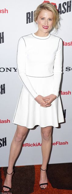 Dressed to impress:Mamie Gummer, 32, looked every inch the movie star as she stepped out in white in Sydney on Wednesday night for a screening of new movie Ricki And The Flash