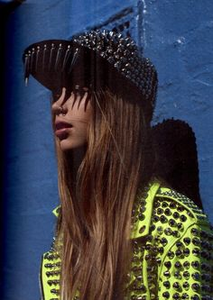 Ridiculously over the top, but still cool as hell, studded hat and jacket