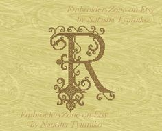 Monogram Letter R vintage 1. In style of French от EmbroideryZone