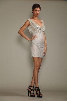 Gojee - Beaded Double-Cowl Lace Dress by Carmen Marc Valvo