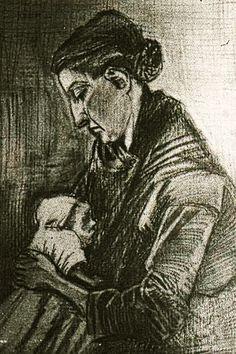 """Sien Nursing Baby""....Vincent van Gogh Drawing, Pencil, black chalk The Hague: September, 1882.....Private collection."