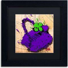 Trademark Fine Art Flower Purse Green on Purple Canvas Art by Roderick Stevens, Black Matte, Black Frame, Archival Paper, Size: 11 x 11