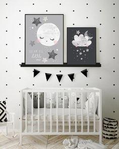 moon clouds and stars unisex nursery wall art baby print Unisex Baby Room, Baby Boys, Baby Boy Room Decor, Baby Boy Rooms, Kids Rooms, White Nursery, Nursery Room, Moon Nursery, Baby Room Themes