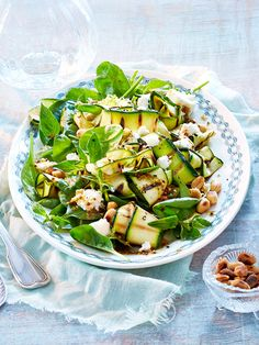 Grilled Zucchini and Spinach Salad with Lime, Oregano, and Garlic Red Wine Vinaigrette; Feta, and Toasted Peanuts