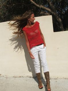 Red cotton and linen mix tank by ileaiye on Etsy,