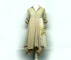 Long Boho Tunic Shabby Chic Dress Mori Girl Lagenlook Clothing Sustainable Clothing Upcycled Clothing for Women by Primitive Fringe by PrimitiveFringe