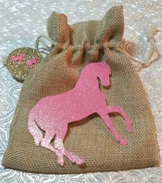 Pink & gold sets of pony horse goody burlap bags w/tags for birthday party candy favor treat baby shower decor Christmas stocking stuffer Wild West cowboy cowgirl western rodeo theme country ranch horse racing jockey first birthday anniversary Baptism