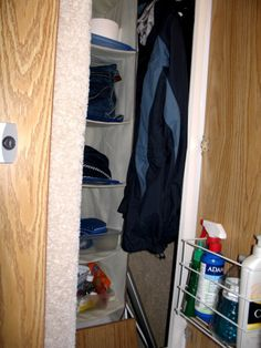 closet storage in our small Casita trailer Our closet is smaller, but great idea!