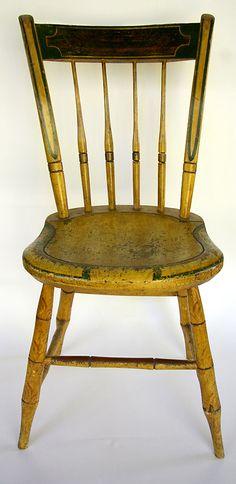 Signed Painted Mustard Windsor Chair: Stephen Kilburn, circa 1810, Massachusetts