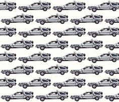 It's everybody's favorite car from the eighties, The DeLorean. When I was about ten years old I was obsessed with Back to the Future and DeLoreans and while on a vacation in Florida, there was a DeLorean Convention in town and I happened to witness a whole fleet of them driving past me; this fabric was inspired by that incident.