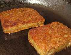 Two nice looking slices of scrapple, just about ready to slide out of the pan and onto a plate. Looks delicious. http://www.whatisscrapple.com/bid/122335/Do-You-Remember-Your-First-Taste-of-Scrapple