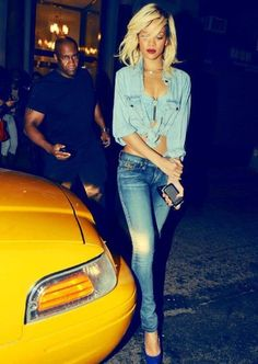 Double Denim -- one of Rihanna's best looks     #rihanna #denim #style