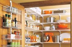 33 Kitchen Pantry Design Ideas -There are many different approaches to the pantry design. For example if it is a separate room it can have doors that make it looks like built-in cabinet or it is simply separated by curtains. The pantry can be part of the kitchen itself. It can even be a large cabinet with labels inside.